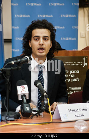 Maikel Nabil Sanad explains his motives for visiting Israel; making the public aware of the existence of pro-peace - Stock Photo