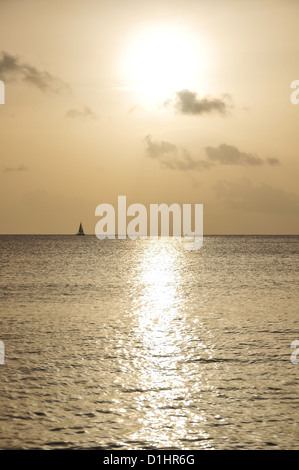 Horizon yacht sailing across a silver-grey sea below a golden sky white orb setting sun, Morne Rouge Beach, Grenada, - Stock Photo