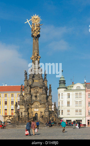 Holy Trinity Column in Horni Namesti, Olomouc, North Moravia, Czech Republic - Stock Photo