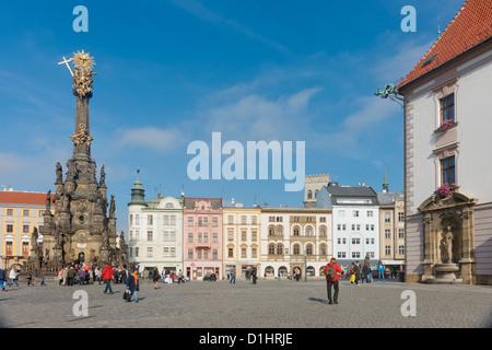 Holy Trinity Column in Horni Namesti, Olomouc, North Moravia, Czech Republic - Stock Photo