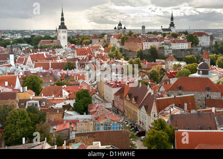 View over the rooftops of the old town of Tallinn, the capital of Estonia. - Stock Photo