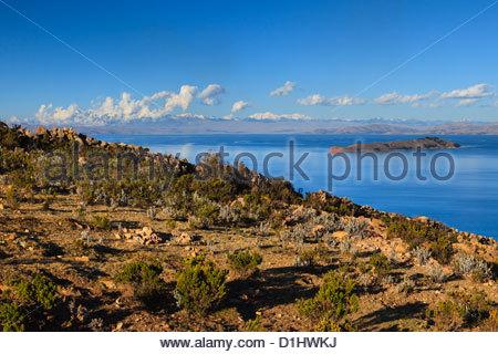 Isla del Sol on the Bolivian Side of Lake Titicaca, Bolivia. - Stock Photo