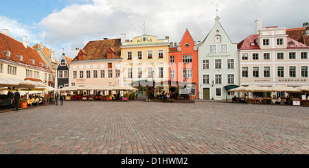 Buildings and restaurants on Raekoja Plats (Town Hall Square) in Tallinn, the capital of Estonia. - Stock Photo