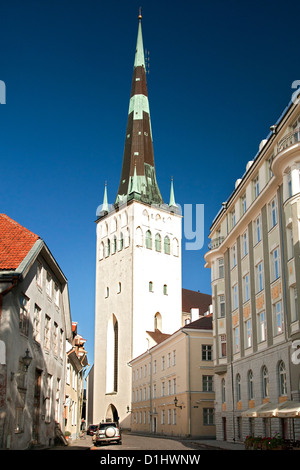 St. Olaf's Church (Oleviste kirik) in Tallinn, the capital of Estonia. - Stock Photo