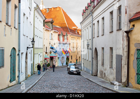 A street in the old town in Tallinn, the capital of Estonia. - Stock Photo
