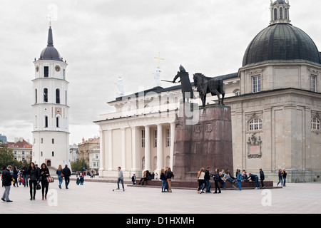 Cathedral Square with Vilnius Cathedral and its bell tower in Vilnius, the capital of Lithuania. - Stock Photo