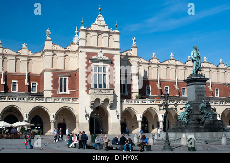 Sukiennice (the Cloth Hall or Drapers' Hall) on Rynek Glówny, the main town square in Krakow in southern Poland. - Stock Photo
