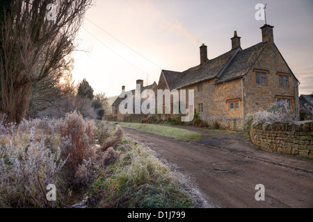 Cotswold cottages in Winter, Gloucestershire, England - Stock Photo