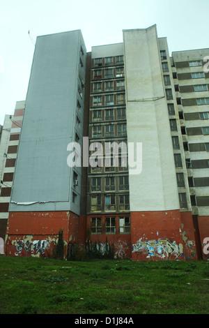 An aging apartment block in Varna, Bulgaria. - Stock Photo