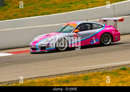 Porsche CT3 Cup Challenge drivers battle for position during their series' penultimate event of the season on Saturday. - Stock Photo