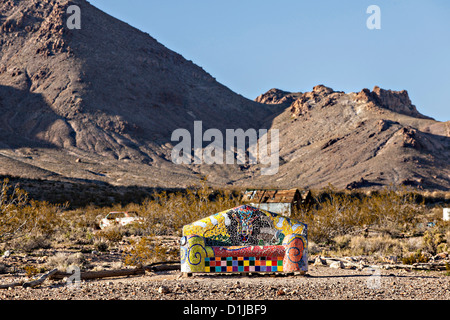 Public sculpture called Sit Here! at the open air museum in Goldwell, NV. - Stock Photo