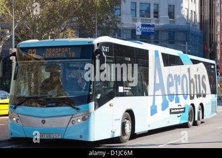 Aerobús, bus to the airport, Placa de Catalunya, Barcelona, Spain - Stock Photo