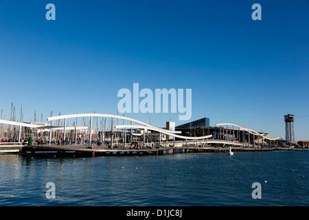 Rambla de Mar, Port Vell, Barcelona, Spain - Stock Photo