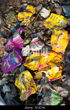 Discarded rubbish with plastic bags in the Indian countryside