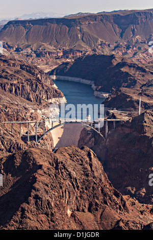 Aerial view of the Hoover Dam, NV. - Stock Photo
