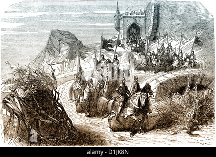scene from the history of France, knights leaving the castle, Frankish Kingdom, 10th century, - Stock Photo