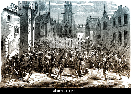 scene from the history of France, a revolt in a Frankish town in the 12th century, - Stock Photo