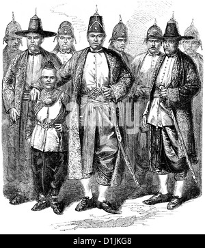 scene from the history of France, the ambassador from Siam or Thailand with Napoleon III in Paris, 1861, - Stock Photo