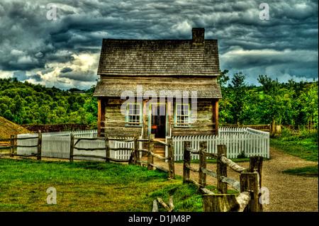 Irish American Cottage Ulster American Folk Park Northern Ireland - Stock Photo
