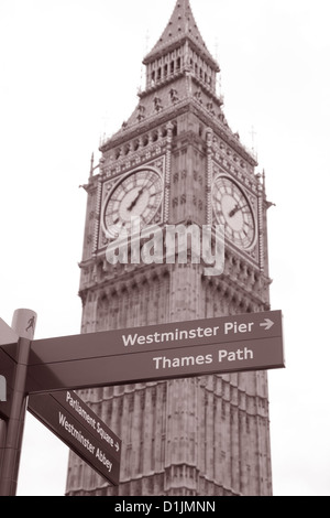 Big Ben and Signpost in Black and White Sepia Tone, London, England, UK - Stock Photo