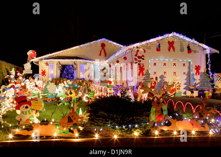 House lit up for annual Christmas season.-Victoria, British Columbia, Canada. - Stock Photo