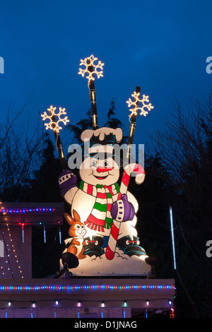 Frosty the Snowman on house lit up for annual Christmas season.-Victoria, British Columbia, Canada. - Stock Photo