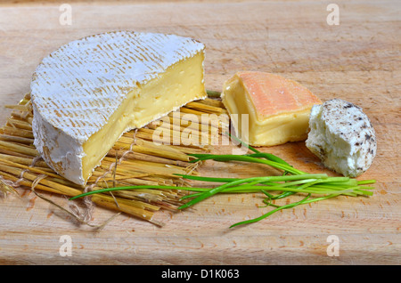 Assortment of three French cheeses - Stock Photo