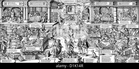 trade and the estate of the merchants in Germany, 16th century, - Stock Photo