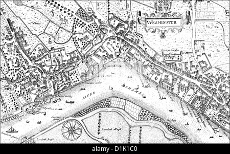 city map of Westminster with the River Thames, 17th century, a district of London, England, Europe - Stock Photo