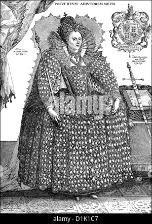 portrait of Elizabeth I, 1533 - 1603, Queen of England 1558 - 1603, from the Tudor dynasty, - Stock Photo