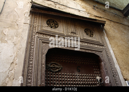 A doorway in the medina of Fez, Morocco, North Africa - Stock Photo