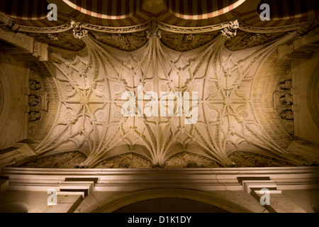 Vaulted ceiling of the Great Mosque (La Mezquita) in Cordoba Spain. - Stock Photo