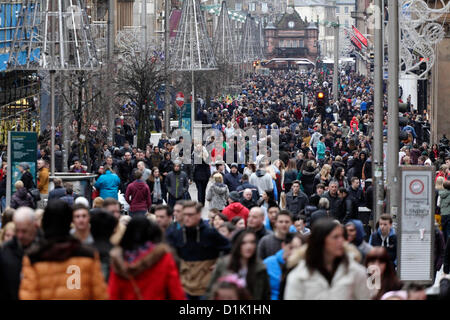 Boxing Day shoppers at the sales on Buchanan Street in Glasgow city centre, Scotland, UK - Stock Photo