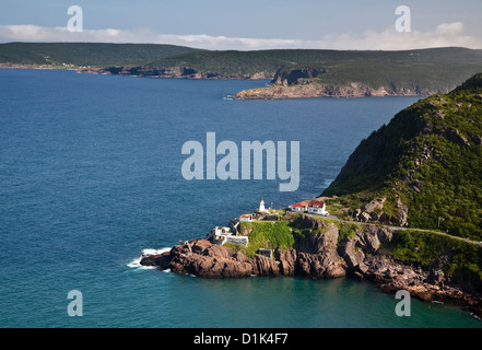 View from Signal Hill, St. John's, Newfoundland of the National Historic Site of Fort Amherst and the lighthouse - Stock Photo