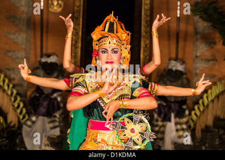 Traditional Balinese dance at the Ubud Palace, Ubud, Bali, Indonesia - Stock Photo