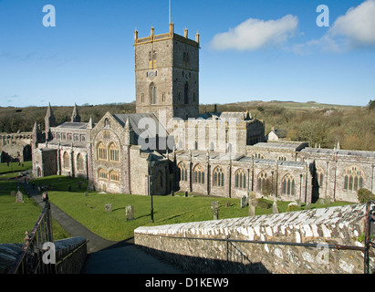 St Davids Cathedral in Pembrokeshire West Wales - Stock Photo