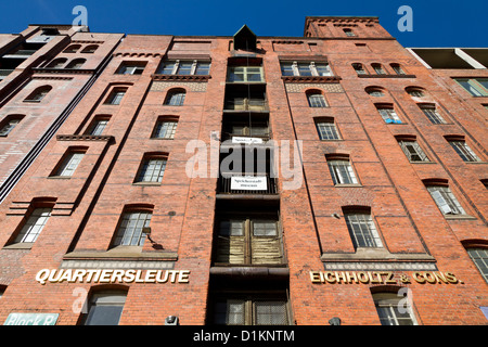 Typical Brick Building in the old Warehouse District in Hamburg, Germany - Stock Photo