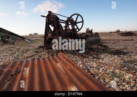 old machinery on coast beach Dungeness Kent England UK - Stock Photo