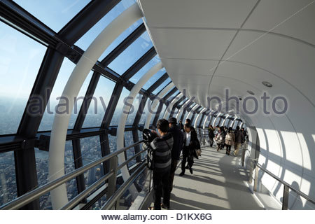 Skytree Tower people looking out over Tokyo from Tembo Galleria at floor 445-450 - Stock Photo