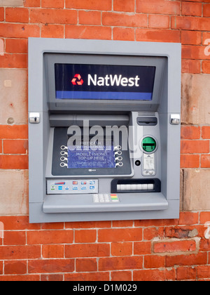Cash Machine ATM Hole in the Wall Automatic Teller Natwest Bank - Stock Photo