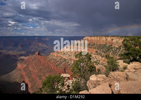 Stormy weather over South Kaibab Trail, South Rim, Grand Canyon National Park, Arizona, USA - Stock Photo