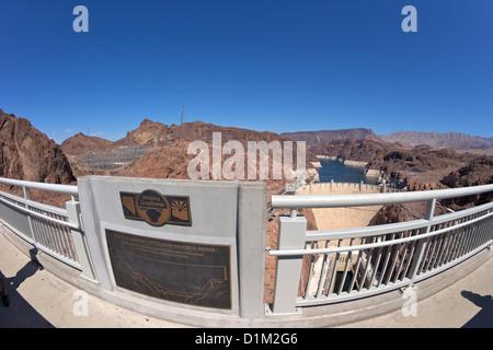 Mike O'Callaghan-Pat Tillman Memorial Bridge, Hoover Dam, Colorado River, between Nevada and Arizona, USA - Stock Photo