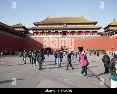 Forbidden City front entrance tourists crowd - Stock Photo