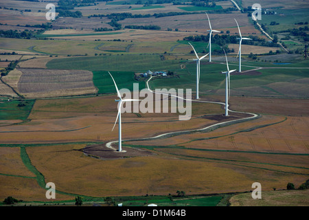 aerial photograph wind turbines near Council Bluffs, Iowa - Stock Photo
