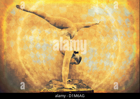 Female acrobat in a circular handstand. Photo based mixed medium image. - Stock Photo