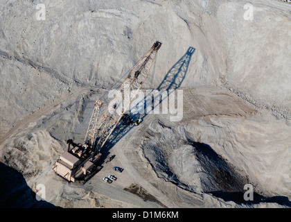 aerial photograph dragline excavator coal mine Southern Wyoming - Stock Photo