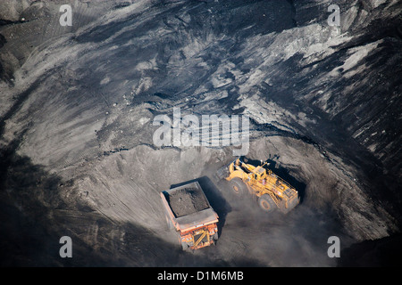 aerial photograph excavator working coal mine Southern Wyoming - Stock Photo