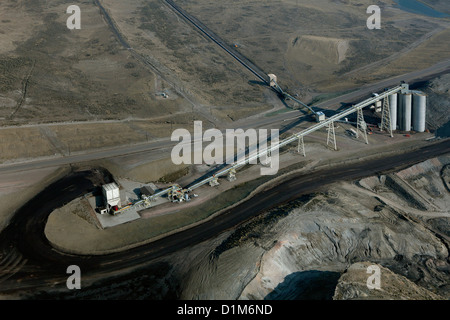 aerial photograph coal conveyor assembly from Westmoreland Coal Company Kemmerer Mine to Naughton Power Plant, Kemmerer, - Stock Photo