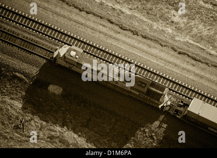 aerial photograph diesel Union Pacific locomotive southern Wyoming - Stock Photo