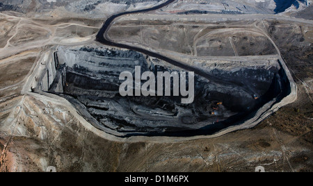 aerial photograph Kemmerer Open Pit Coal Mine, Kemmerer, Wyoming - Stock Photo